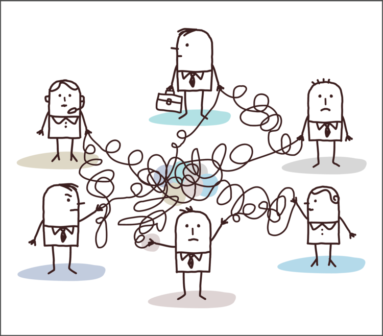 group of illustrated characters connected by wire