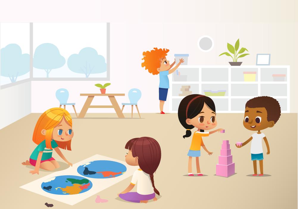 illustration of students in preschool