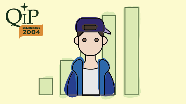 Image of teenager and bar chart