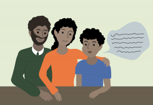 illustration of two adults listening to a child who is speaking