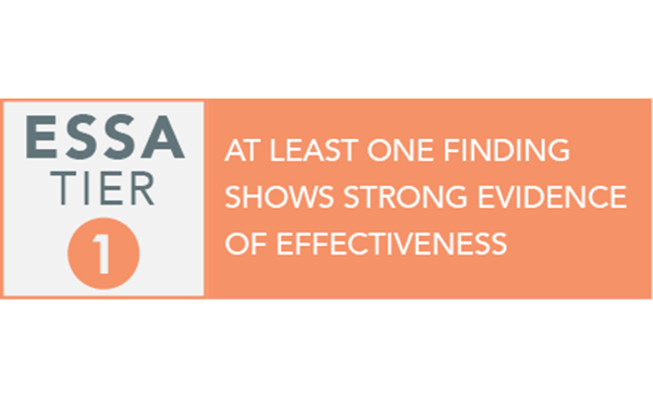 ESSA Tier 1 At least one finding shows strong evidence of effectiveness