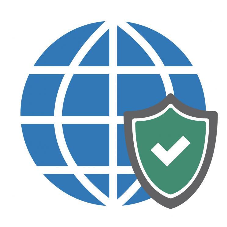 internet symbol with green check mark