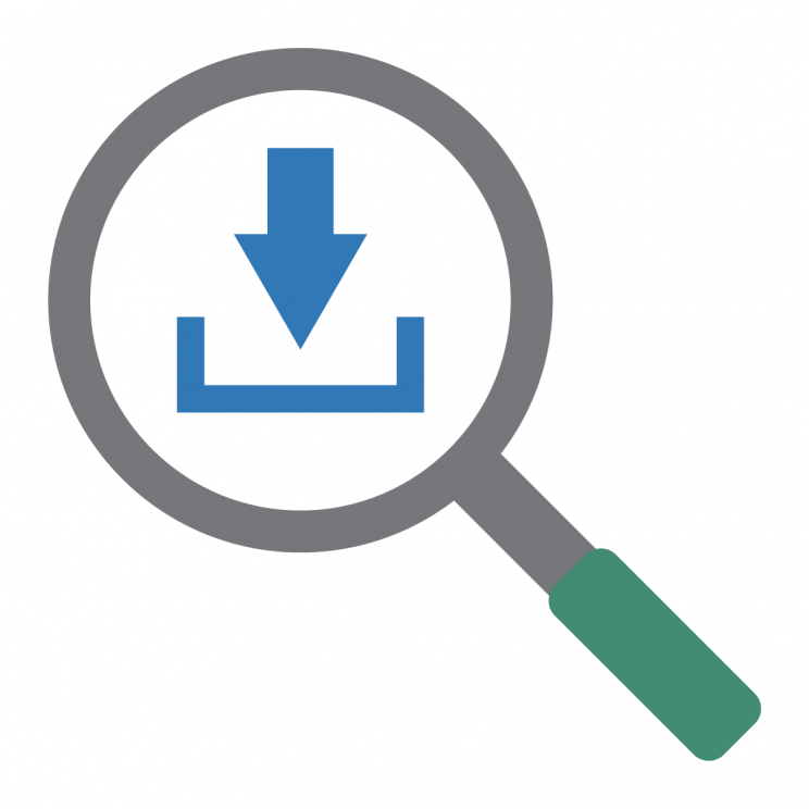magnifying glass showing blue arrow